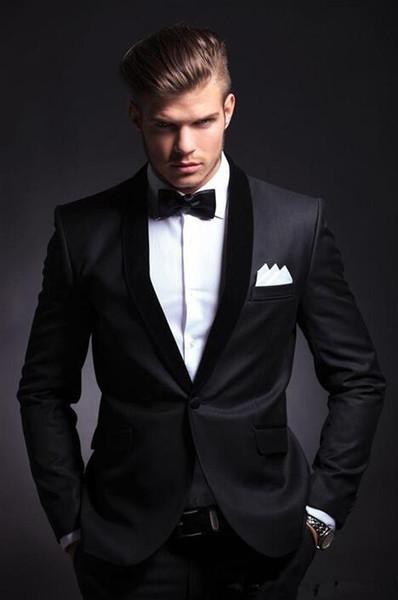 2017 Best Selling Black Mens Wedding Suits Custom Made Slim Fit Wedding Groom Tuxedos For Men Groom Suits Bridegroom (Jacket+Pants)