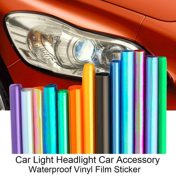 120 * 30 cm Parlak Parlak Stil Araba Araç Far Sticker Moda Değişti Renk Taillight Saydam Film Sticker