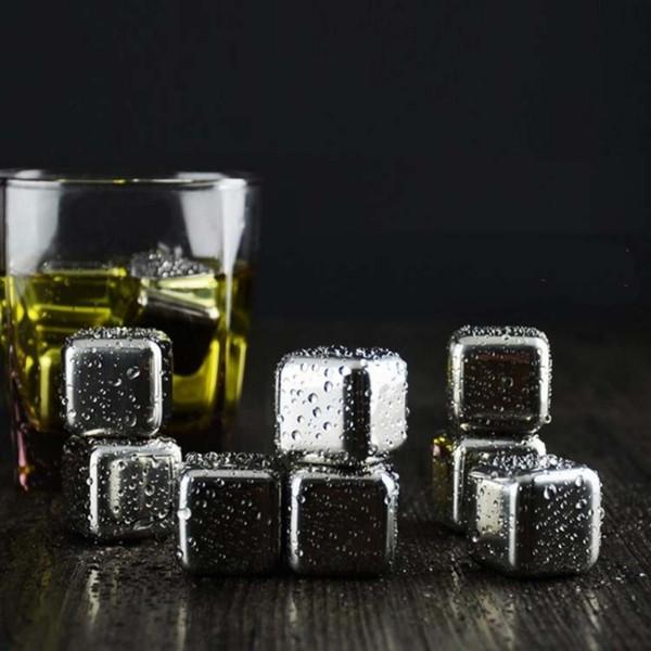 Cubetti di ghiaccio in acciaio inossidabile Pietre refrigeranti 26x26x26MM Rocce riutilizzabili per bevande a base di vino al whisky