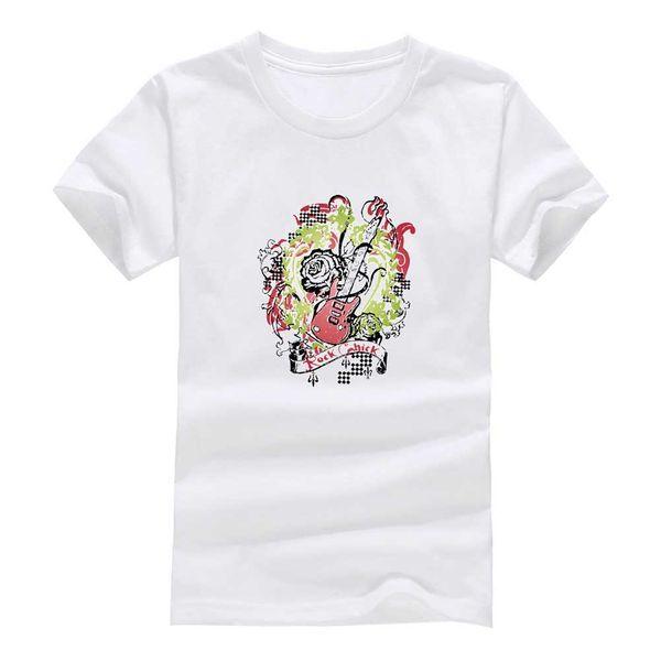 Kaya gitar 2017 Yeni Giysiler Moda Adam Rahat T-Shirt Pamuk O Boyun Kısa Kollu Gevşek Kişiselleştirilmiş benzersiz Erkek Tees Tops toptan