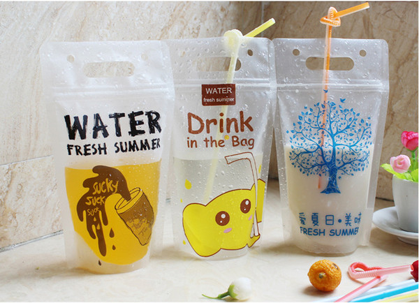 13x23cm 450ml 500ml frosted clear plastic stand up ziplock handle ziplock drinking water straws bag