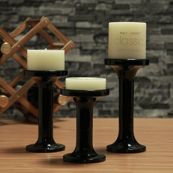 3 Black Tabletop Glass Tea Light Holder Good Quality Clear Glass Decorative Candle Holder,Votive Candlestick,Idea For Gift