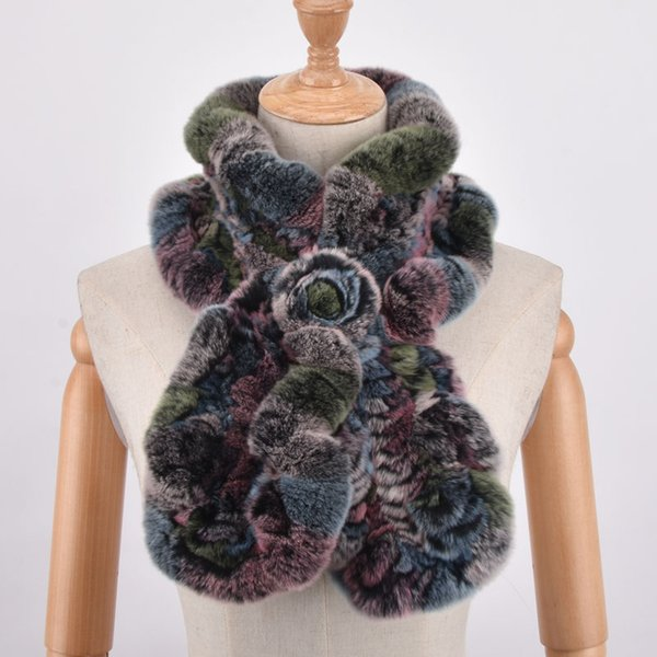 Womens Scarves Real Rex Rabbit Fur Scarf Rose Floral Design Girls Natural Thicken Fur collar Wraps Winter Soft Muffler