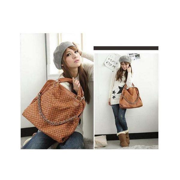 Wholesale- 2016 Fashion PU Leather Weaving Korean style Lady Hobo Shoulder Handbag Bag Popular Shoulder Messenger Bags Wholesale