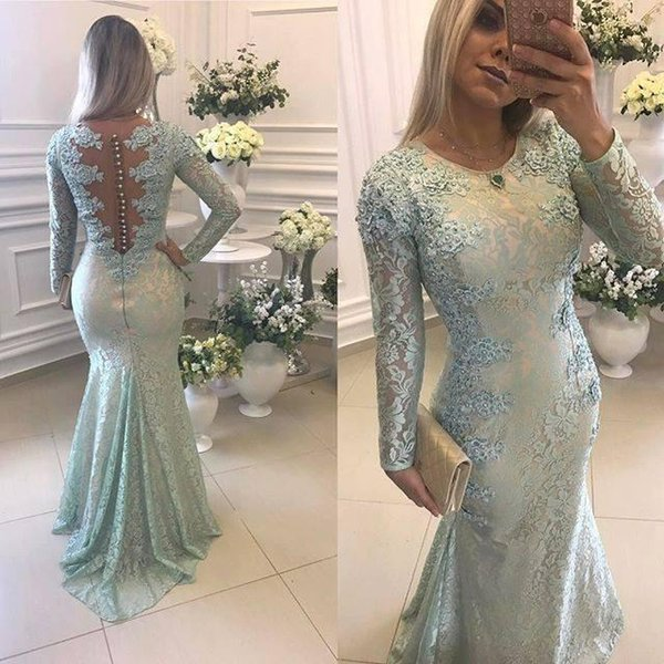 2017 New Sage Full Lace Evening Dresses Wear For Women Jewel Neck Long Sleeves Illusion Mermaid Beaded Formal Arabic Party Gowns Prom Gowns