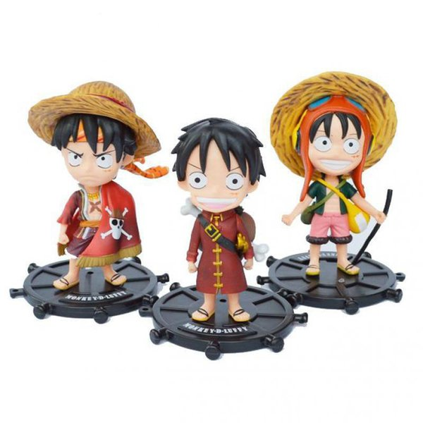 Toys Anime One Piece Q Version Red Dress Straw Hat Luffy PVC Action Figure Toys 3pcs/set Free Shipping