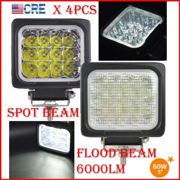 "DHL 4PCS 5"" 60W CREE Chips LED Driving Work Light Square Shape 12LED*5W Offroad SUV ATV Spot Pencil / Flood Beam 6000LM 9-32V Super Bright"