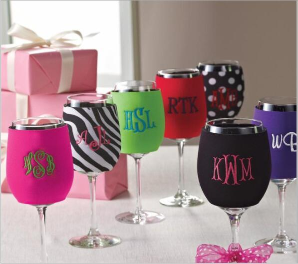 Wine Glass Koozie water bottle NEOPRENE beer wine mugs glass protective casing 9*12cm 7 colors available DHL free shipping