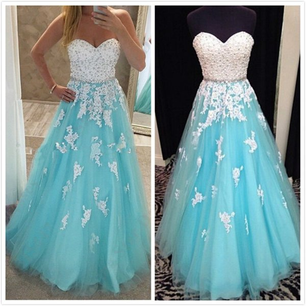 Light Blue Ball Gown Prom Dresses Sweetheart Crystal Pearls Appliqued Tulle Floor Length Corset Sweet 16 Dresses Real Quinceanera Dresses