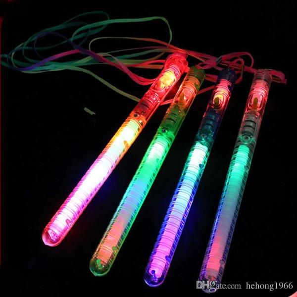 Bâton lumineux de LED couleur arc-en-ciel resuable Flash portable bâtons lumineux dans l'obscurité avec corde de fluorescence de corde pour le concert 1jr R