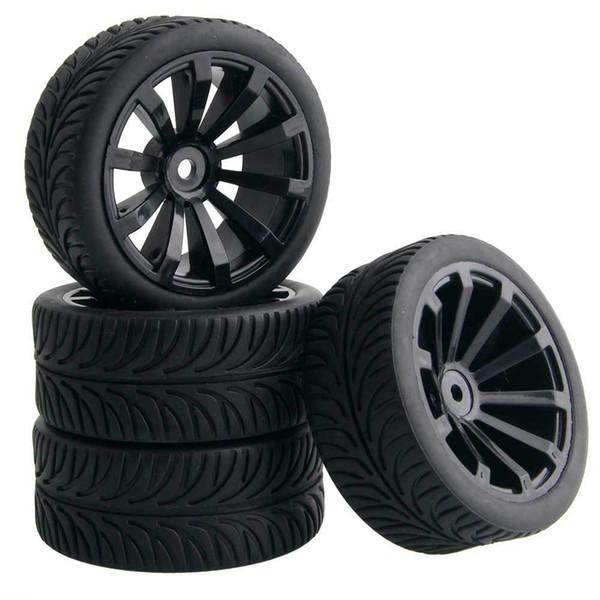 4pcs RC HSP 601-6087 Flat Racing Tires Tyre Wheel Rim Fit HPI 1:10 On-Road Car