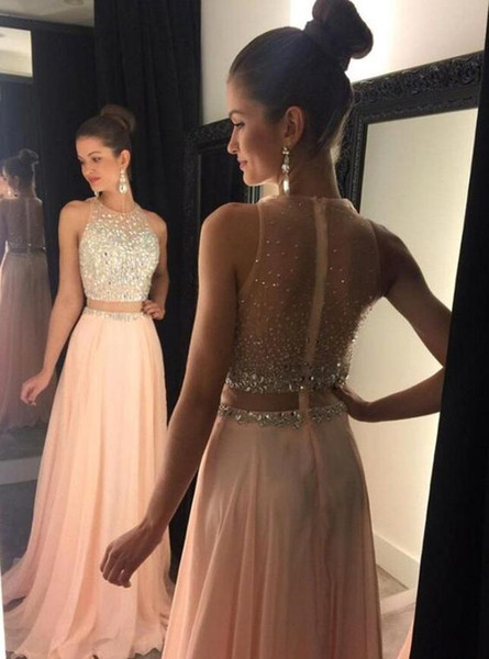 Blush Pink Two Pieces Prom Dresses 2019 Jewel Neck Chiffon Beading Crystal Long Evening Gown Fashion Illusion Back Special Occasion Dresses