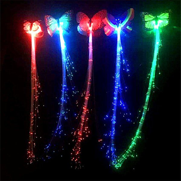 uujuly Luminous Light Up LED Hair Extension Flash Braid Party Glow by fiber optic For Party Christmas Halloween Night Lights Decoration
