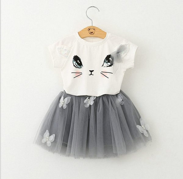 2017 Summer New Baby Girls Clothing Sets Fashion Style Cartoon Kitten Printed T-Shirts+Net Veil Dress 2Pcs Girls clothing kids outfits