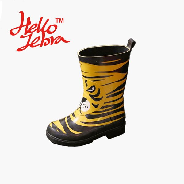 Children Candy Color Rain Boots Printing Tiger Pattern Cute Boy Girl Baby Kids Waterproof Shoes 2016 New kinderen regenlaarzen Tiger Face