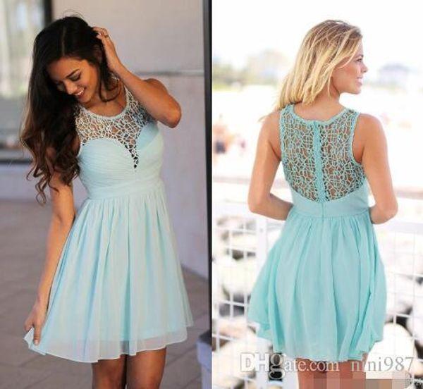 Mint Green Short Bridesmaid Dresses Scoop Sleeveless Crochet Lace Chiffon Knee Length Summer Beach Bridesmaid Gowns Cheap Party Dresses
