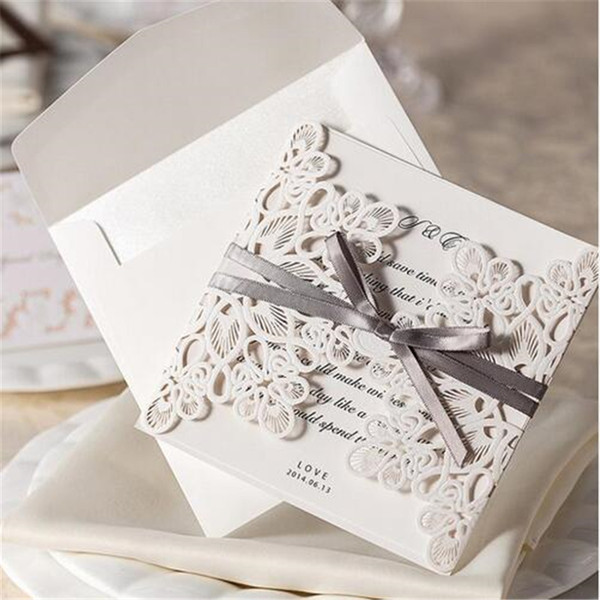 Wishmade White Hollow Flora Lace Flower Invitation Cards with Ribbon Elegant Laser Cut Wedding Invitations Paper WM207_WH