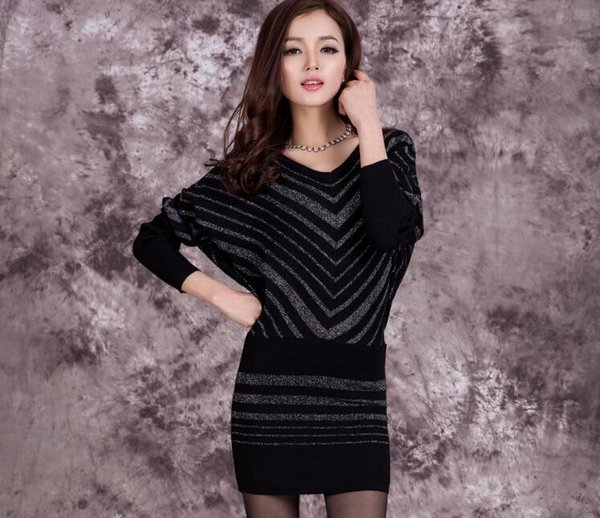 860c2108cd20 Wholesale-High fashion batwing sleeves sexy v-neck women s knitting long  tight sweater dress