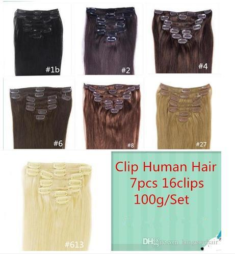 "12""-24"" 7pcs/Set 16 Clips 100G Black Brown Blonde Clip in Human Hair Extensions Brazilian REMY Clip in Hair Extension"