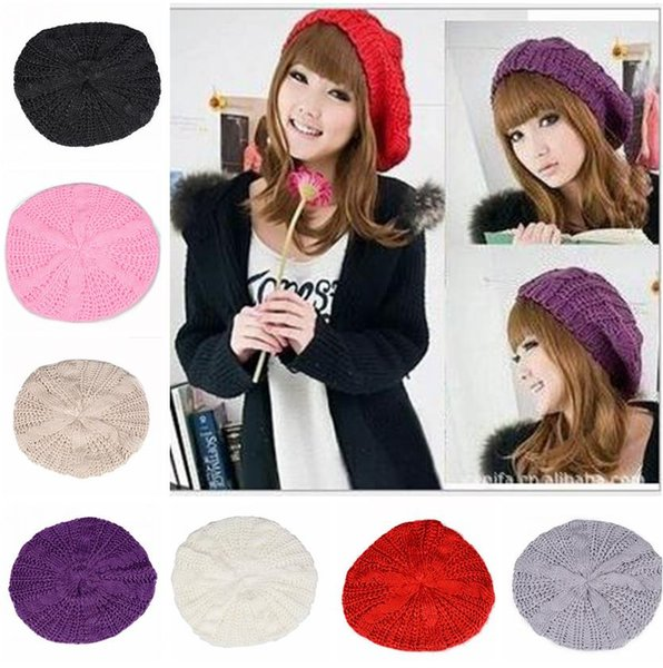 Women Crochet Knitted Berets warm hats Brand 10 Colors Winter Berets Braided Baggy Beanie for Women Ski Cap S663