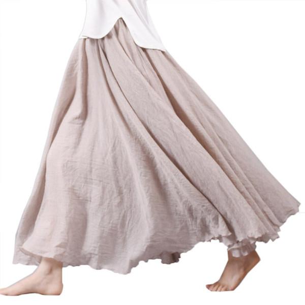 Stlye Mujer Falda Vintage Lino Algodón Elástico Cintura Faldas Maxi plisadas Playa Boho Faldas largas
