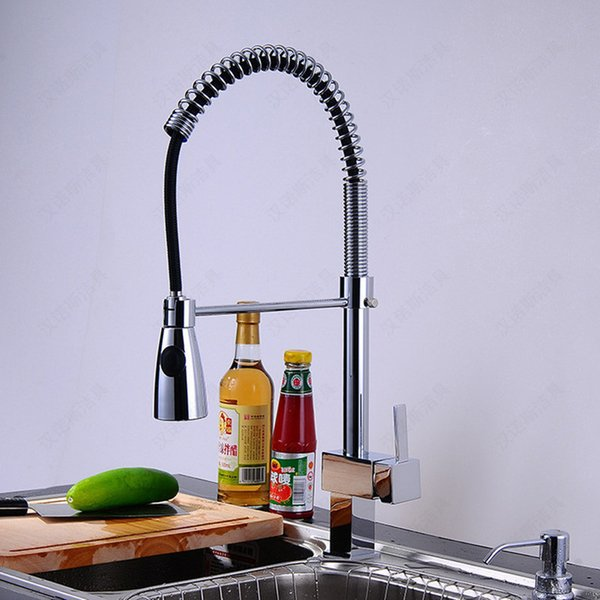 Hot selling deck mouted pull out kitchen sink faucet with high quality solid brass kitchen tap of hot cold pull down water tap