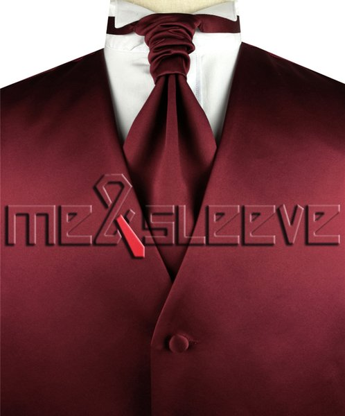 hot sale free shipping plain burgundy destination dresses(vest+ascot tie+cufflinks+handkerchief)