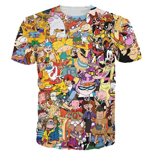 Frauen / Männer 3D T-shirt Baumwolle Männer Kurzarm Gedruckt Männer Casual Boy T-shirts Cartoon T Shirts Graphic Shirts 17310