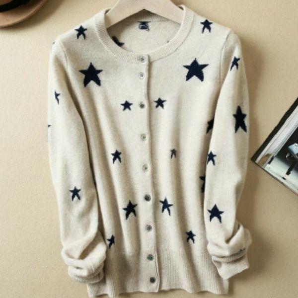 Wholesale- fashion Star print cardigan sweater woolen round neck knit Women
