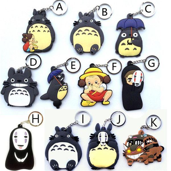 Hot!20pcs Mixed Anime My Neighbor Totoro Figurine Toys Bus Totoro Figuras Keychain Keyring Pendant Double sided Design