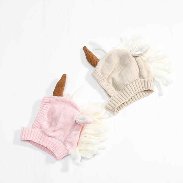 Newest infant unicorn hats Woolen Winter Knitted Hats Warm Hedging Caps cartoon Hand Crochet Caps C2814