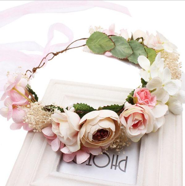 Girls Garlands Kids Hair Accessories 2017 New Fashion Foam Adjust Flowers Garlands Boho Floral Crown DR-257