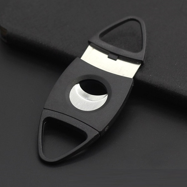 10pcs ABS Plastic Stainless Steel Black Cigar Cutter Pocket two Double Blades sharp cigar Knife Scissors smoking tobacco Shears Guillotine