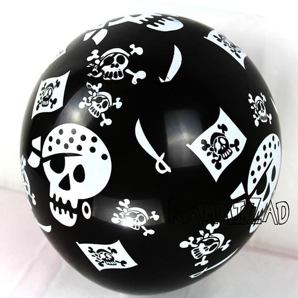 New 100Pcs /Lot 12Inch Pirate Latex Balloons Halloween Black Skull Helium Globos Pirates Theme Birthday Party Supplies Kids Toys