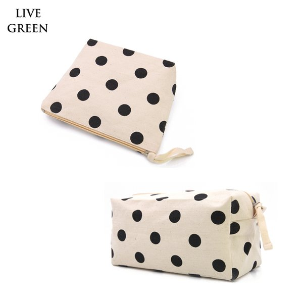 Free Shipping ,2pcs /Lot ,Polka Dot Big Nature Cotton Canvas Cosmetic Bag Cotton Travel Toiletry Bags Portable Makeup Zipper Pouch
