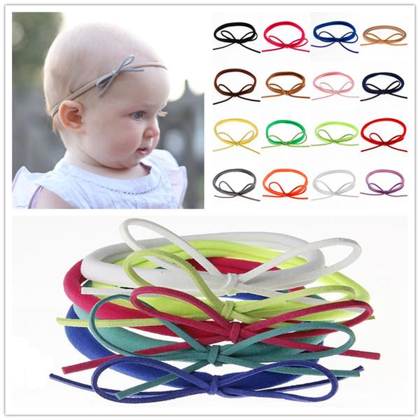 Newborn Baby Nylon Elastic Headbands Bow DIY Bands Kids Girls Bowknot Hairbands Children Hair Accessories Princess Headwear 22 Color KHA06