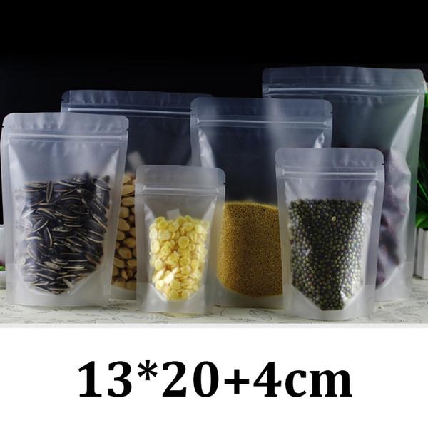 13x20cm escarcha de plástico transparente embalaje de grado alimentario con cierre hermético levántese las bolsas con cremallera de la bolsa