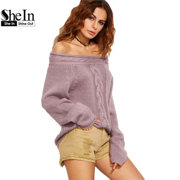 Wholesale-SheIn Women Casual Pullover Sweaters Ladies Autumn Purple Cable Knit Long Sleeve Off The Shoulder Oversized Sweater