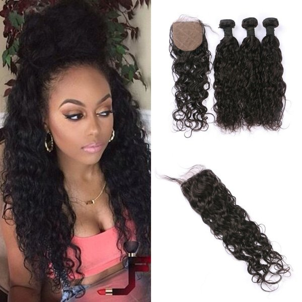Peruvian Water Wave Hair 3 Bundles With Closure Water Wave Hair With Silk Base Closure Wavy Human Hair Extensions FDSHINE