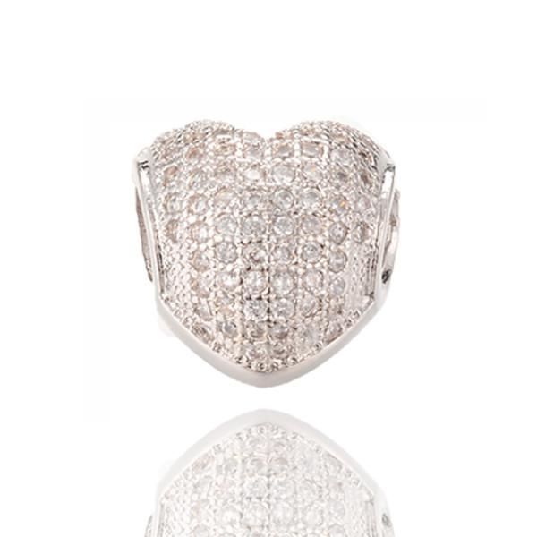 Micro Pave Heart Shape Charm Fine Silver Jewelry Beads Big Hole Beads Fit Pandora Bracelet ICPD018 Size11.9*11.8mm
