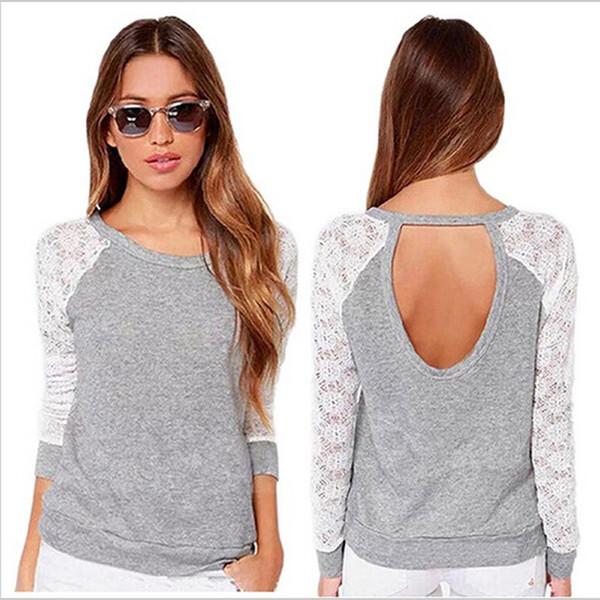 Women Autimn Lace T Shirt Fashion Brand Women Long Sleeve Sexy Crochet T-Shirt Casual Tops Plus Size Tee Female HO861179