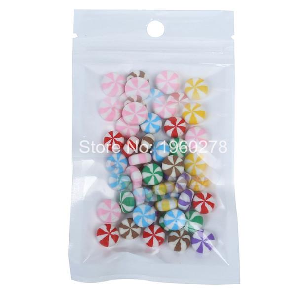 "Wholesale 10x18cm (4x7"") Moisture proof BOPP pearl film Clear/ white ziplock plastic pouch flat hand hold mylar packaging bag"