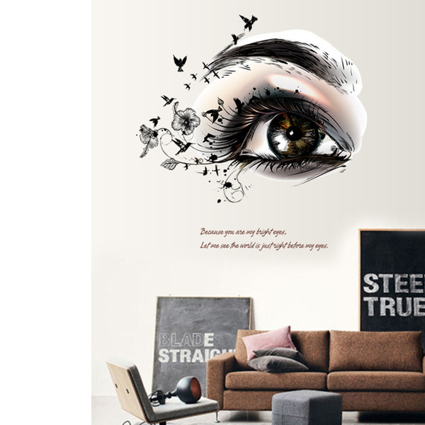 3D Woman Eyes Wall Stickers Murals for Girls DIY Wall Decorative Decals for Girls Room Beauty Salons Wholesale Free Shipping