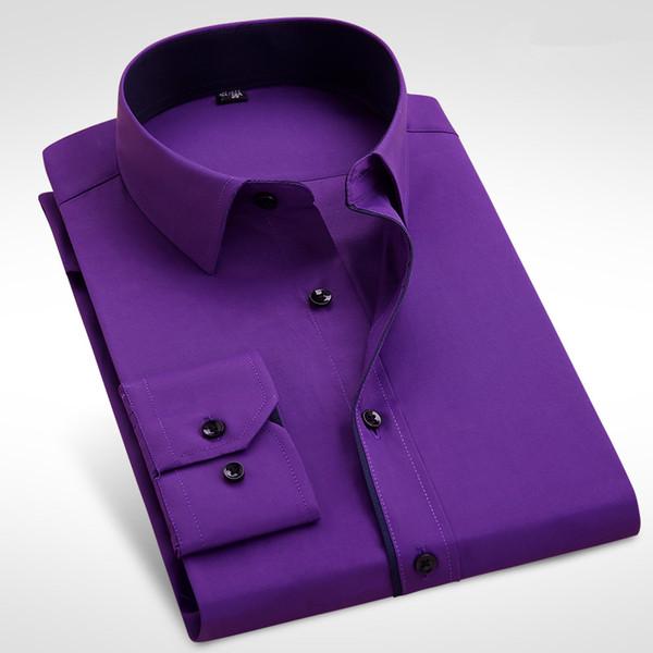 Venta al por mayor- Hombres de negocios formales Camisa de vestir de manga larga Marca Moda masculina Sólido Negro Blanco Púrpura Rosa Camisa casual Slim Fit Plus Size 4XL