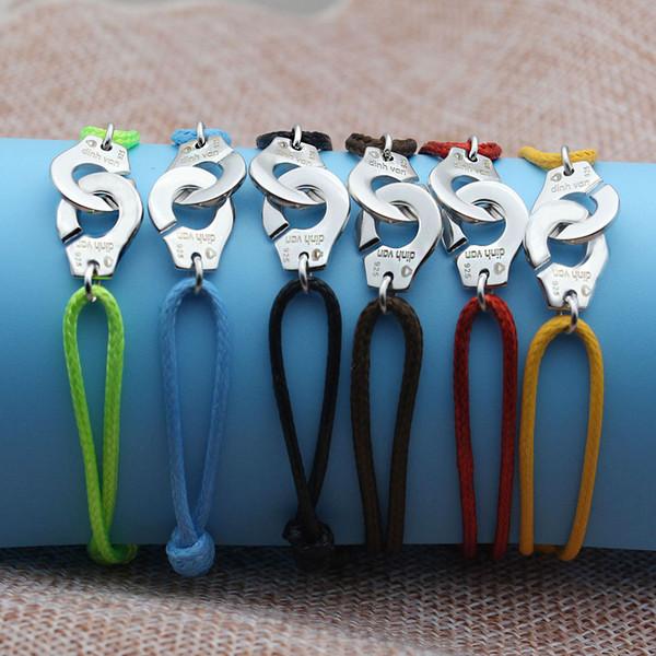 Wholesale- France Paris Jewelry 925 Sterling Silver Handcuffs Bracelet For Women With Rope 925 Silver Pendant Bracelet Menottes
