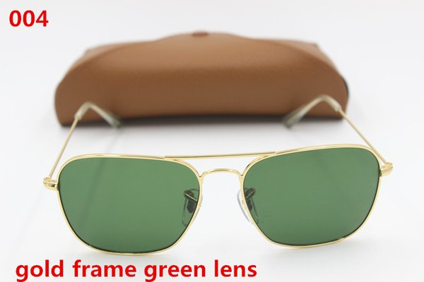 1pcs High Quality Fashion Rectangle Sunglasses For Mens Womens Gold Metal Sun Glasses Black Green 58mm Glass Lenses UV Protection Brown Case