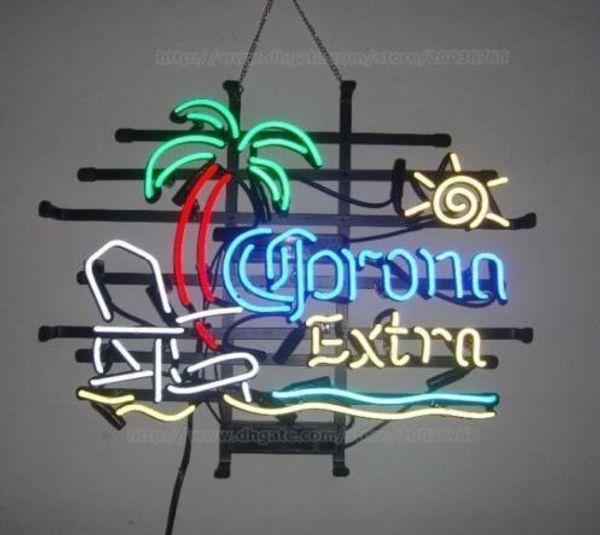 "17""x14"" Corona Extra Parrot Palm Tree Club Beer Bar Pub Store Display Neon Light Sign"