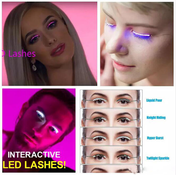 New LED Lashes Fashion Interactive Luminoso Incandescente Ciglia finte Impermeabile per la danza Concerto Natale Halloween Nightclub Party By Dhl