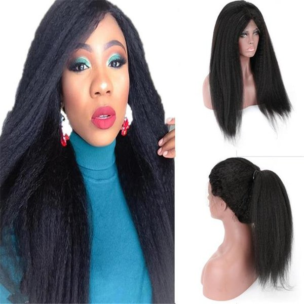 Hot Sale 1B Kinky Straight Virgin Human Hair Malaysian Lace Front Wig for High Ponytail Free Shipping