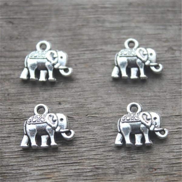 Encantos de 40pcs-Elefante, Antique prata Adorável Mini Elefante Charme Pingente 13x12mm